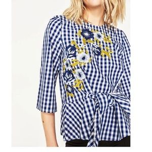 Zara Woman Blue Gingham Floral Embroidered Top